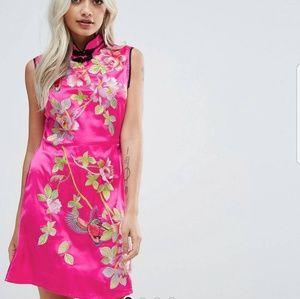 ASOS Petite Embroidered Pink Satin Mini Dress